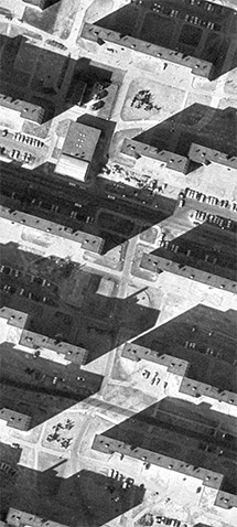 Detail from an aerial photograph of the Pruitt Igoe complex, c. 1968